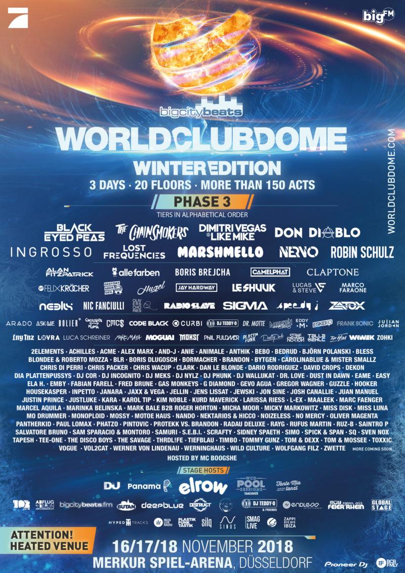 BigCityBeats WORLD CLUB DOME Winter Edition 2018 Line-up Phase 3 mit Ingrosso, Claptone, HUGEL, Boris Brejcha, Felix Kröcher u. v. a.